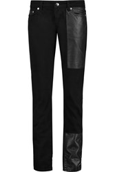 Mcq By Alexander Mcqueen Faux Leather Paneled Mid Rise Straight Leg Jeans Black