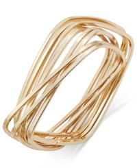 Thalia Sodi Gold Tone Interlocking Rectangles Bangle Bracelet Only At Macy's
