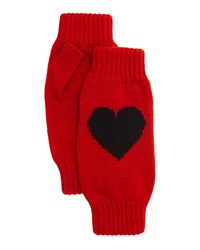 Rosie Sugden Cashmere Heart Fingerless Gloves Red Black