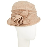 John Lewis Wool Pleat Rose Cloche Hat Natural