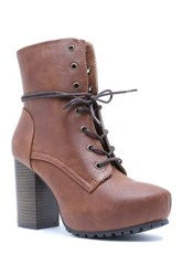 Qupid Sotto Lace Up Heeled Bootie Brown