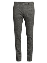 Dolce And Gabbana Prince Of Wales Checked Wool Blend Trousers Light Grey