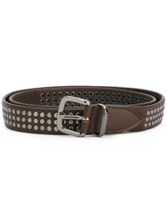 Eleventy Studded Belt Brown