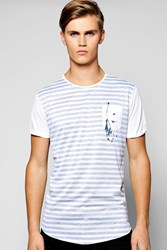 Longline Reverse Stripe Tee With Scoop Hem