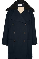 Chloe Double Breasted Wool Blend Coat Navy