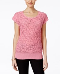 Joseph A Crochet Short Sleeve Sweater Only At Macy's Aurora Pink
