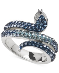 Kaleidoscope Blue Swarovski Crystal Snake Ring In Sterling Silver