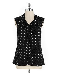 Lord And Taylor Sleeveless Dotted V Neck Shell Black