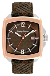 Tommy Bahama Square Leather Strap Watch 47Mm Brown Rose Gold