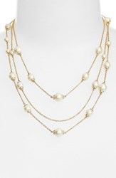 Women's Kate Spade New York 'Pearls Of Wisdom' Faux Pearl Strand Necklace Gold Cream