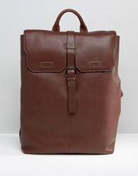 Ted Baker Leather Backpack Pebble Grain Brown