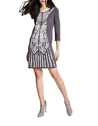 Spense Patterned Sweater Dress Steel Grey
