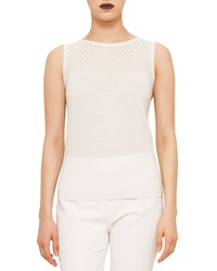Akris Punto Jewel Neck Perforated Tank Cream