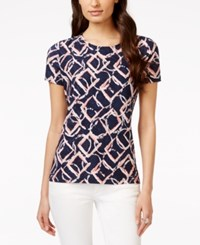 Jm Collection Printed Short Sleeve Textured Jacquard Top Only At Macy's