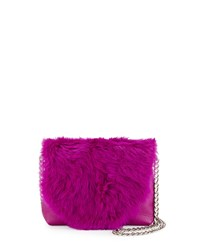Foley Corinna Stardust Rabbit Fur Mini Crossbody Bag Fuchsia Pink