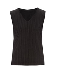 Homme Plisse Pleated Top Black
