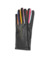 Forzieri Arlecchino Black Leather Women's Gloves W Silk Lining