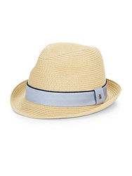 Original Penguin Ribbon Trim Straw Fedora Natural