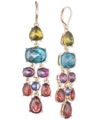 Anne Klein Gold Tone Colorful Multi Stone Chandelier Earrings