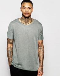 Asos Longline T Shirt In Linen Look With Scoop Neck And Seamless Sleeve In Green Green