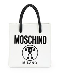 Small Logo Print Shopping Tote Bag White Black Black White Moschino