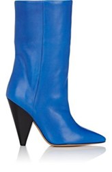 Isabel Marant Women's Lexing Leather Mid Calf Boots Blue