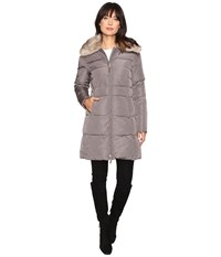 Lauren Ralph Lauren Faux Fur Collar Down Flannel Women's Coat Gray
