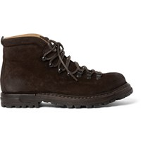 Officine Creative Kontra Burnished Suede Boots Dark Brown