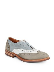 Walk Over Haverford Leather And Suede Wingtip Oxfords Blue