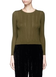 Topshop Pointelle Stitch Cropped Sweater Green