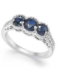 Macy's Sapphire 1 1 4 Ct. T.W. And Diamond 1 8 Ct. T.W. 3 Stone Ring In 14K White Gold Blue