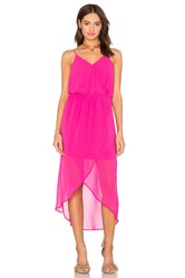 Bobi Black Mixed Chiffon Wrap Dress Fuschia