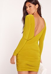 Missguided Slinky Drape Back Ruched Bodycon Dress Yellow Green