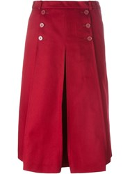 Carven Pleated Skirt Red