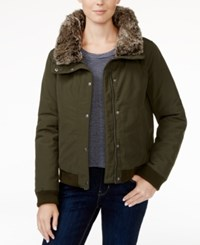 Levi's Faux Fur Trim Bomber Jacket Green