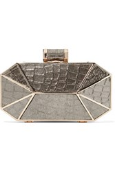 Halston Heritage Croc Effect Lame Clutch Gold