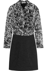 Carven Printed Silk Chiffon And Shantung Dress