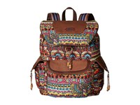 Sakroots Artist Circle Flap Backpack Cherry One World Backpack Bags Brown