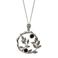 Goldmajor Sterling Silver Marcasite And Agate Pendant Silver