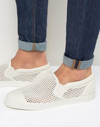 Asos Slip On Plimsolls In White With Perforated Pannelling White