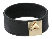 Sam Edelman Narrow V Lock Leather Bracelet Black Gold Bracelet