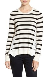 Chelsea 28 Women's Chelsea28 Lace Back Sweater Ivory Black Stripe Combo