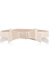 Alaa A Bow Embellished Patent Leather Belt