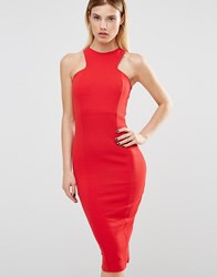 Club L Racer Front Midi Dress In Crepe Red