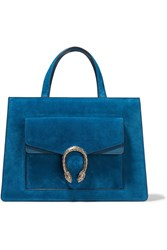 Gucci Dionysus Medium Leather Trimmed Suede Tote Blue