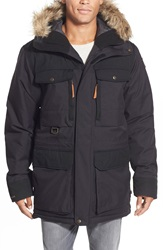 Fjallraven 'Polar Guide' Waterproof Hooded Parka With Faux Fur Trim Black