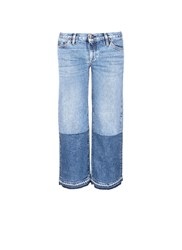 Simon Miller 'Thomas' Colourblock Patchwork Cuff Cropped Jeans Blue