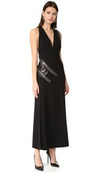 Thierry Mugler Curb Chain Gown With Leather Panel Black