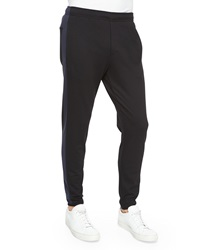 Theory Side Stripe Cotton Sweatpants Black Navy