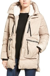 Steve Madden Women's Hooded Puffer Jacket With Faux Shearling Trim Sand